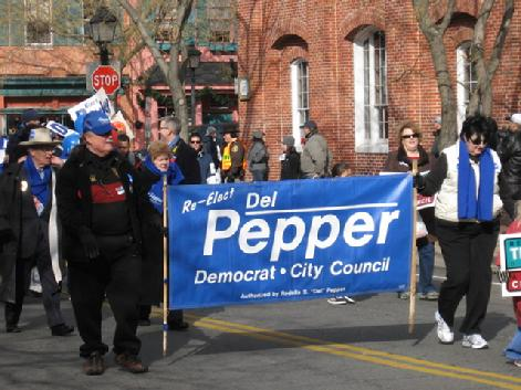Del Pepper, Alexandria City Council, marches in the Washington Day Parade, Alexandria, VA.